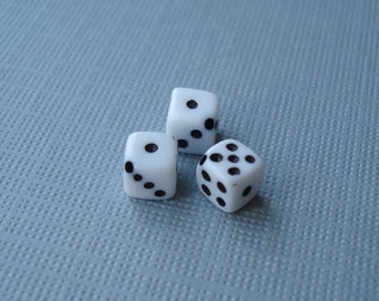 12 Miniature 5mm Drilled Dice Bead Charm Supplies