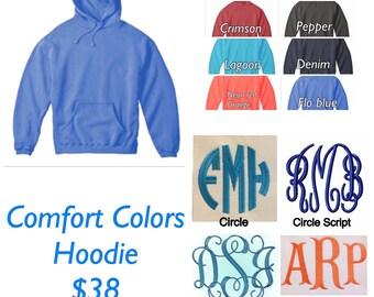Comfort Colors Hoodie Sweatshirt Monogrammed