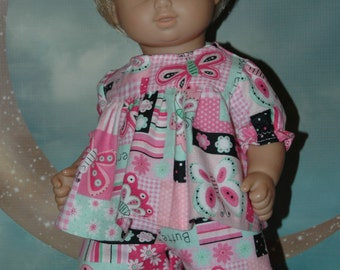 Flannel, pajamas, sleepwear, pants, top, 15 inch doll, doll clothes