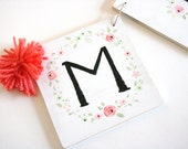 Name Banner, hand painted name banner, flowers, floral, name sign, room decor, garland, name garland, alphabet, nursery decor, baby