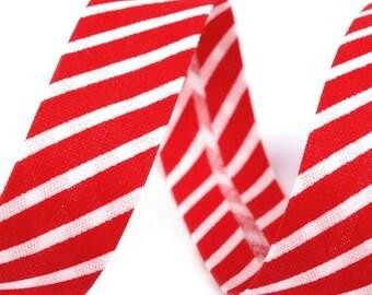 Czech Republic 5 Yards Cotton Single Fold Bias Binding Tape 14mm  Red Stripe