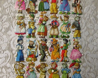 Vintage PZB Germany Die Cut Paper Scraps Anthropomorphic Cats PZB 1287
