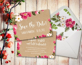 Invitation cards wedding set watercolor A6