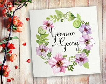 25 invitation cards wedding watercolor flowers