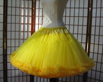 Petticoat Lemon Yellow Organdy with Sun Yellow Chiffon Size Medium Custom
