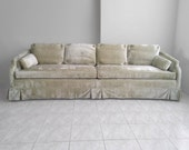 HOLLYWOOD REGENCY mid century dramatic mint green velvet 9ft sofa