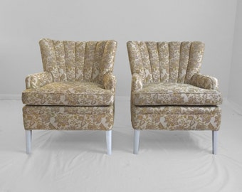 2 purple & chartreuse floral VINTAGE channel back wing chairs