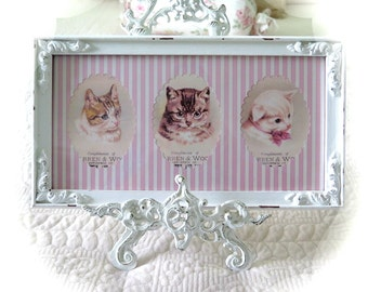 Shabby Vintage Picture Frame & 3  Kitten Prints Shabby Chic Nursery Room Decor  Shabby Chic Home Decor