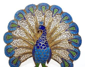 Vintage Cloisonne Peacock Brooch Silver Filigree Gold Vermeil Sterling Silver Peacock
