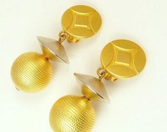 Vintage 80s Elegant Mod Earrings Gold & Silver Saucer