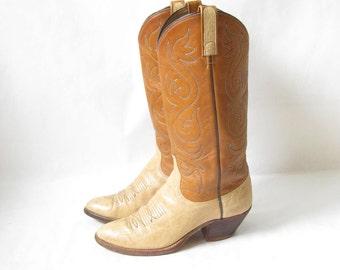 Vintage Two Tone Cowboy Boots. Size 6 Women's