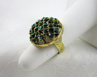 Vintage Emerald Rhinestone Ring Adjustable Goldtone Size 7 Restored