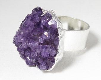 Chunky Amethyst Geode Gold Druzy Stone Raw Stone Ring February Birthstone Amethyst Ring Purple Crystal Ring Adjustable Ring AM-R-102-025s