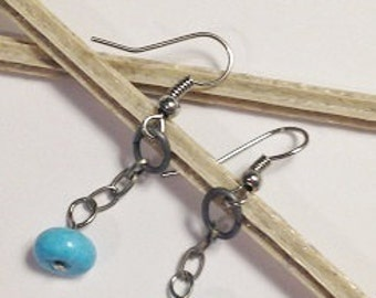 Turquoise and Chain Earrings