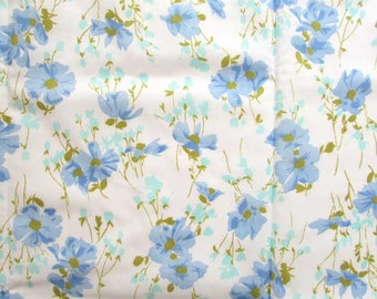 Vintage 1980's  Twin Size Flat Percale Sheet, Multi Petal Flower Design in Blue, Olive Green, Aqua, white