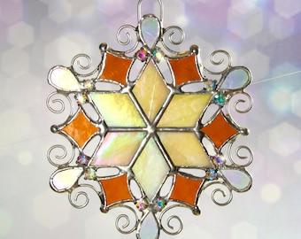 Fancy Filigree and Rhinestone Amber Snowflake Ornament Suncatcher