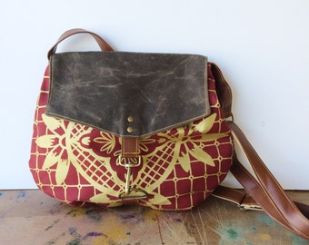 satchel • geometric print • hand printed red canvas - waxed canvas - metallic gold geometric floral print - gifts under 100 • talavera