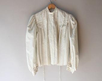 Antique Blouse / 1890s Cotton Blouse / Vintage Victorian Gibson Girl Blouse