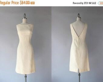 STOREWIDE SALE 1960s Dress / Vintage 60s Low Back Embossed Floral Dress / 1960s Cream Cocktail Dress