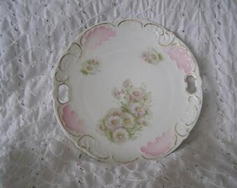 Vintage German Floral Decorative Plate ~ Germany Handled