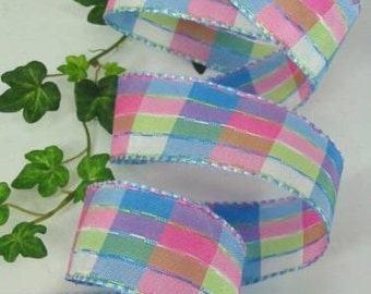 "Wired Ribbon Blue Green Pink Plaid Check 1 1/2"" 5 Yds Easter Spring Mothers Day"