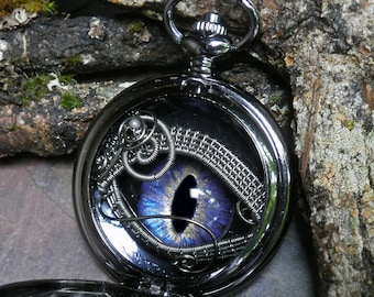 Gothic Steampunk Black Pocket Watch Case with Blue Lavender Eye