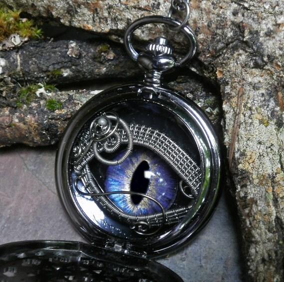 Gothic Steampunk Black Pocket Watch Case with Blue Lavender Eye