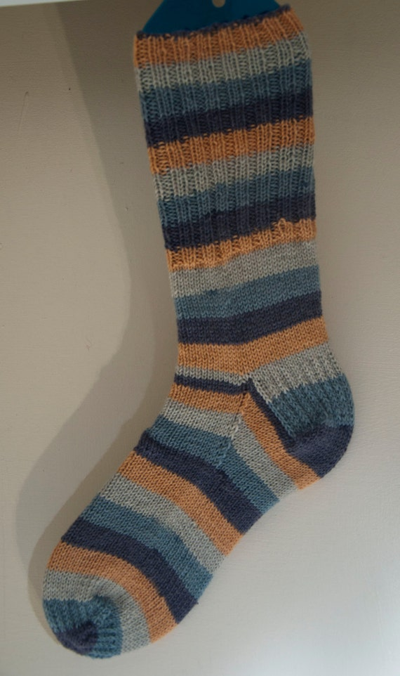 Handknitted Socks in Mustard and Grey