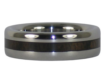Black Wood Thin Inlay Titanium Ring
