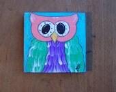 Owl Painting Fun, Whimsical Original  Folk Art Painting Happy Kids Art