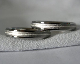 Titanium Ring Set, Wedding Rings, Sterling Silver Pinstripe Inlay