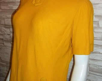 Mod Gold Knit 60s Vintage Short Sleeved Sheath Dress Boucle Textured B44 L