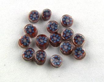 Handmade Lampwork Murrine Blue Bliss Daisy v1 104 COE Murrini slices 15 - R