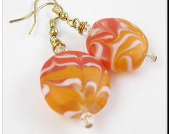 Orange Lampwork Earrings Drop Dangle Murano Glass Red Swirl Beadwork Jewelry