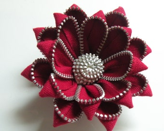 Red Recycled Vintage Zipper Flower Brooch or Pin