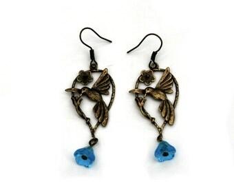 Bird Earrings, Nature Jewelry, Dangle Earrings