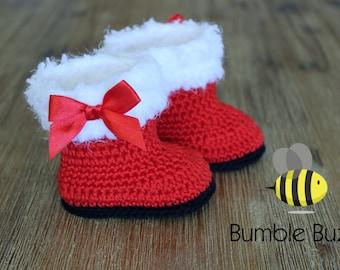 Santa Baby Christmas Booties / Boots / Uggs - Newborn, 3 Months, 6 Months