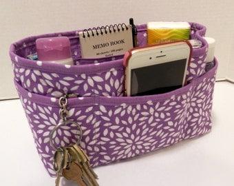 "Purse Organizer Insert/Enclosed Bottom  4"" Depth/ Lavender and White Floral Burst"