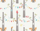 SALE Birch Woodland Party in Cream fabric, by the yard, tree banner print, Designer Organic Cotton Print Sewing Crafting Quilting Supplies