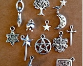 Goddess Wicca Wiccan Witch Charm Collection - 13 Different Charms - Antique Silver - SC216 #GY
