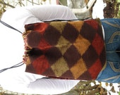 Cinch Sack - BackPack - Drawstring Bag - Upcycled Materials - burgundy squiggles & diamonds