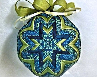 Quilted Christmas Ornament - Blues/Sage