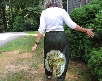 Hand made and dyed Silk Harem Pants with Shibori