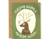 Holiday Wishes and Mistletoe Kisses Illustrated Card//1canoe2