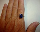 Blueberry Blue Sapphire Antique Cushion Cut Sterling Silver Engagement Statement Ring Missy69