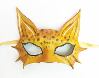 Little Leopard Leather Mask a smaller and very light version of my bigger Leopard & Spotted Cat masks