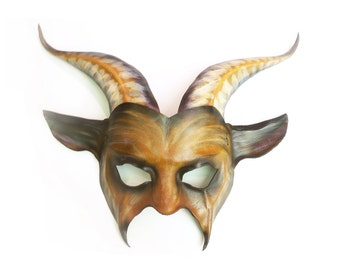Leather Goat Mask in brown with black and tan