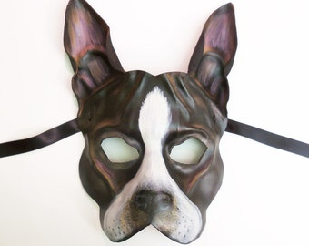 Boston Terrier Dog Leather Mask could be French Bulldog Frenchie also...