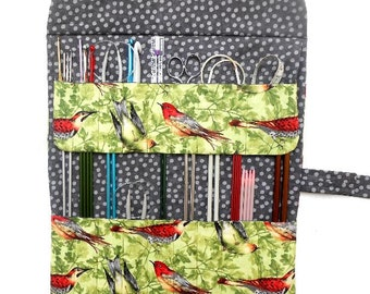Bird Print Knitting Needle Case, Green Grey Red Crochet Hook Holder, Double Pointed Needle Storage, Artist, Makeup Brushes, Pencil Organizer