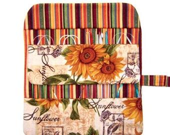 Sunflower Print Circular Needle Case, Green Rust Stripes Crochet Hook Holder, Double Pointed Needle Storage Organizer, Artist Supply Roll Up